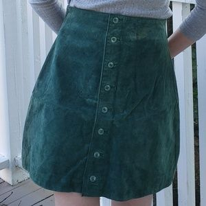 Forest Green Button Front Suede Skirt